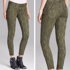 Free People Olive Jacquard Lace Skinny Jeans Sz 28